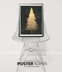 gouden-kerstboom-kerstposter-onlineposterkopen