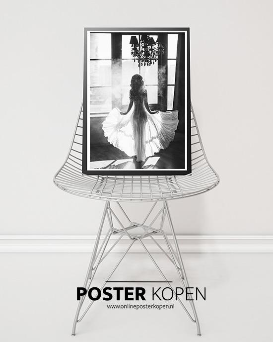 White dress- fashionposter-online postr kopen