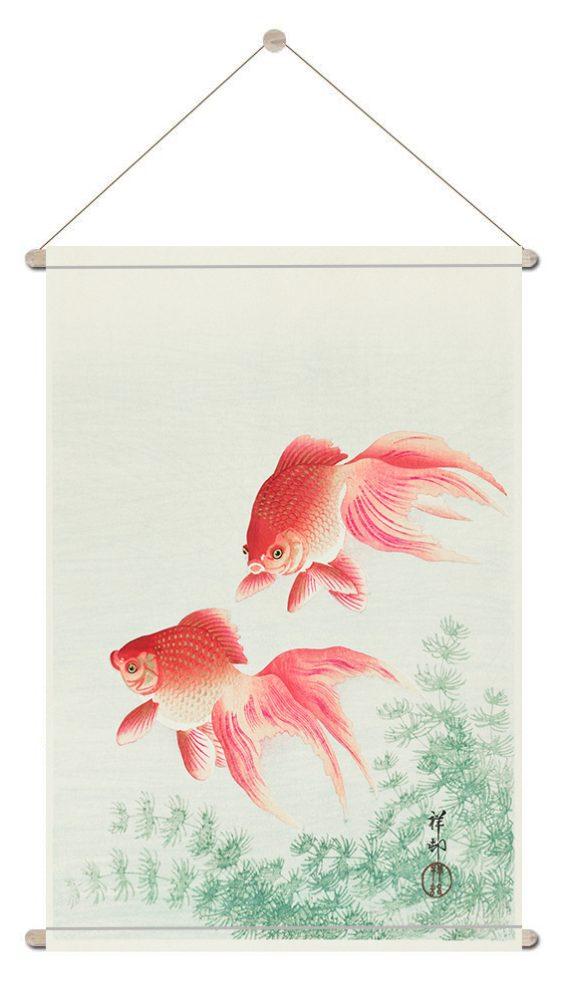 textielposter-Twee goudvissen Ohara Koson-.onlineposterkopen