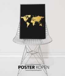 gouden-wereldkaart poster