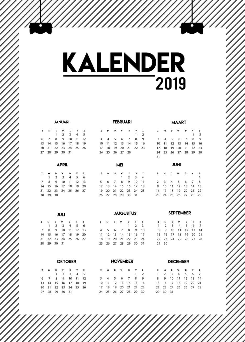 poster met de kalender 2019 zwart wit poster online. Black Bedroom Furniture Sets. Home Design Ideas