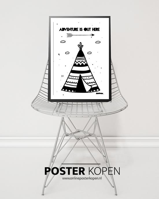 poster met een tipi- posters kinderkamer - zwart wit posters - kinderposters