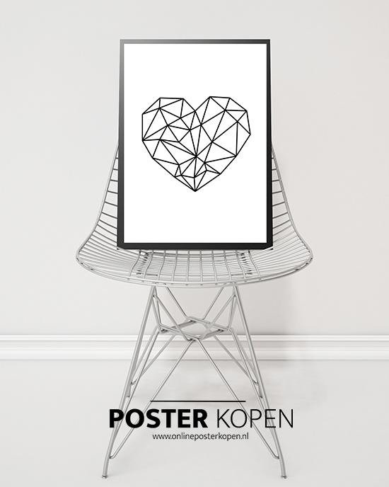 poster met een hart- love poster - liefde is poster - liefdesposter