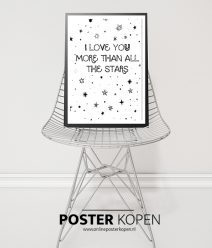 love to the star-kinderposter- zwart wit kinderposter-online posterkopen